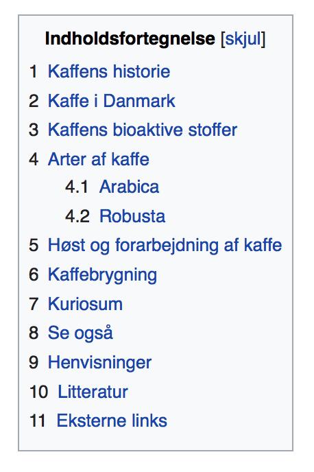 Wikipedia indholdsfortegnelse