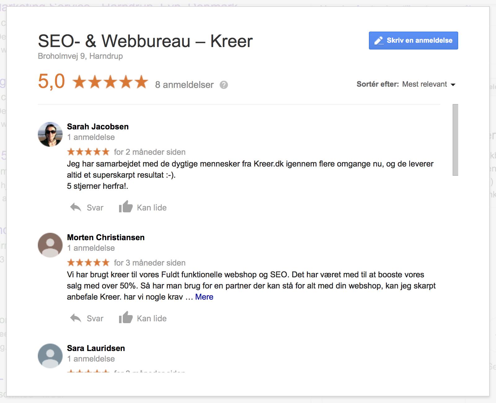 Google My Business anmeldelser